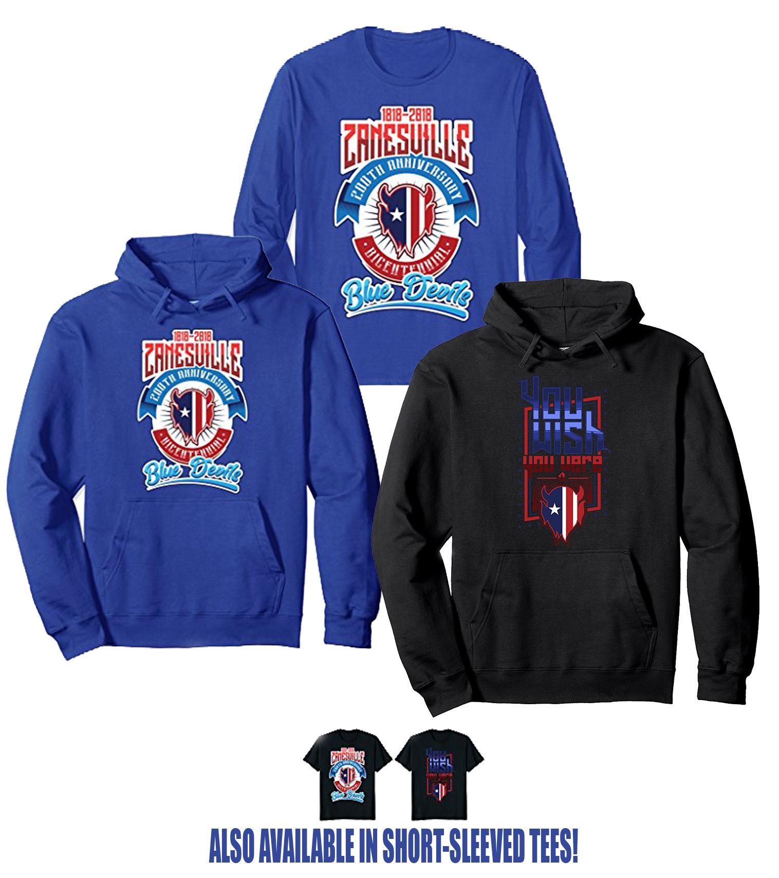 t-shirts, hoodies, bicentennial, wish you were a blue devil