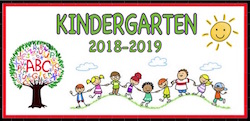 Kindergarten 2018-2018 clip with tree, sun and kids