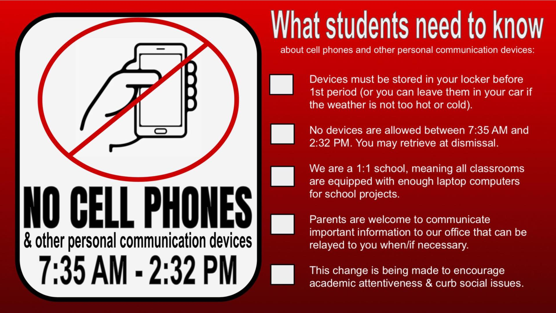 No Cell Phones Policy