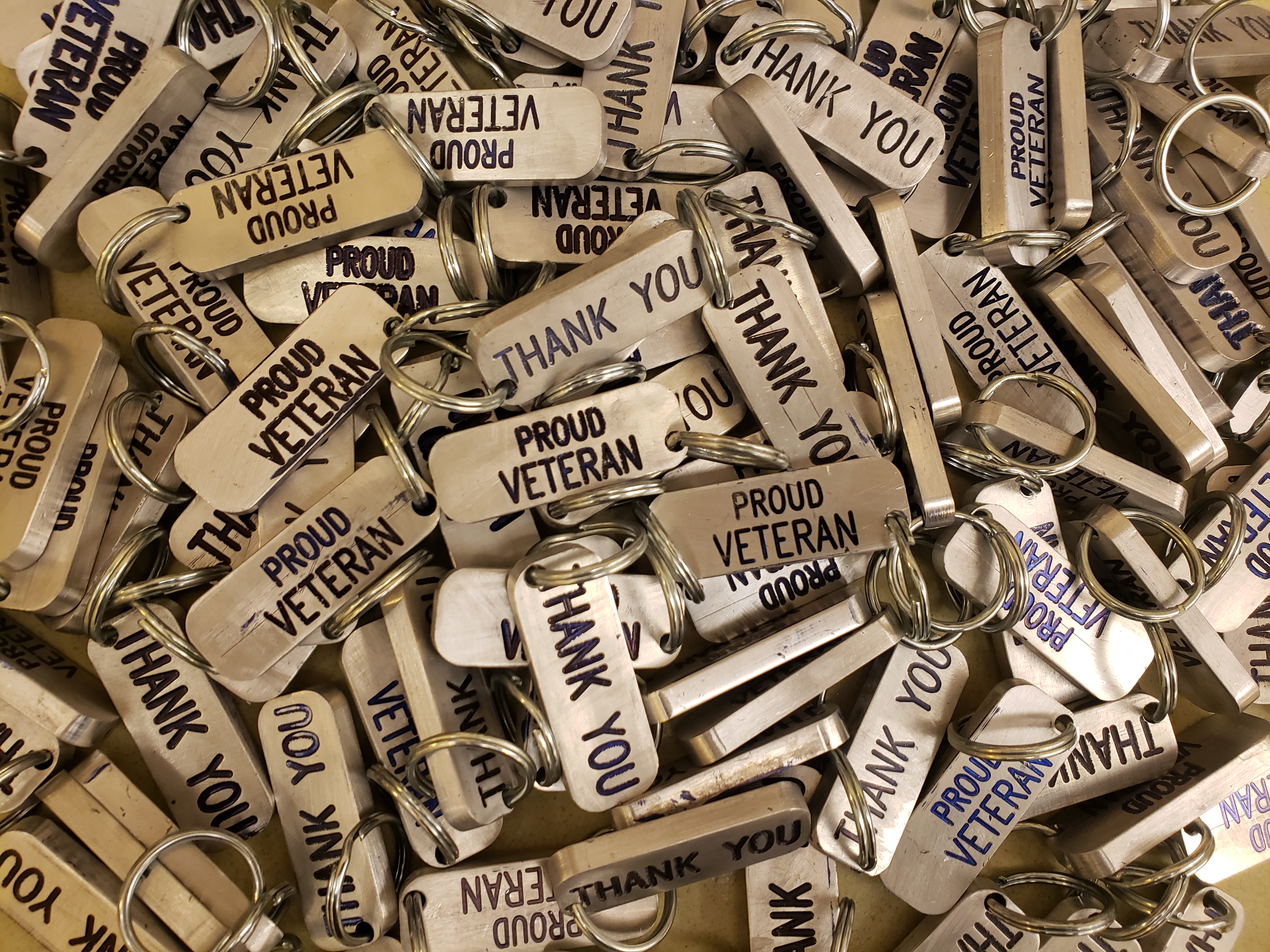 Machining students made 100 key chains for veterans.